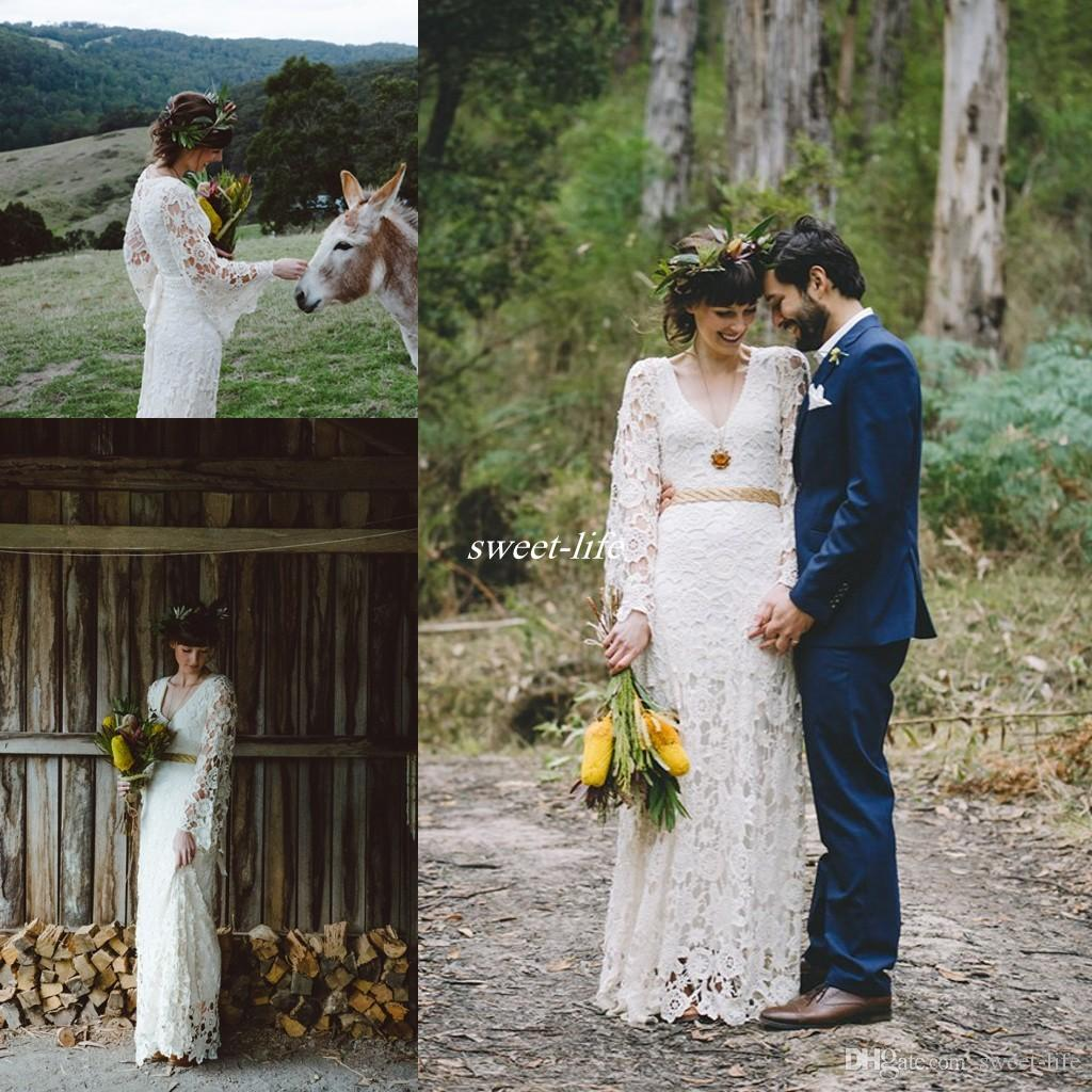 d7ba5157d9d6 Vintage Inspired Hippie Simple Crochet Lace Long Sleeve Boho Country Beach Wedding  Dresses V-neck Plus Size Bohemian Cheap Bridal Gowns 2016 Wedding Dresses  ...