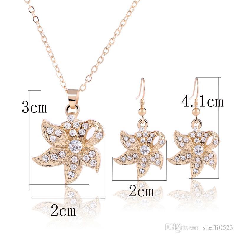 Mode Cristal Collier Boucles D'oreilles Ensemble de Bijoux Pour Femmes Meilleur Cadeau 18K Strass Ventes Chaudes De Haute Qualité Bijoux 1452