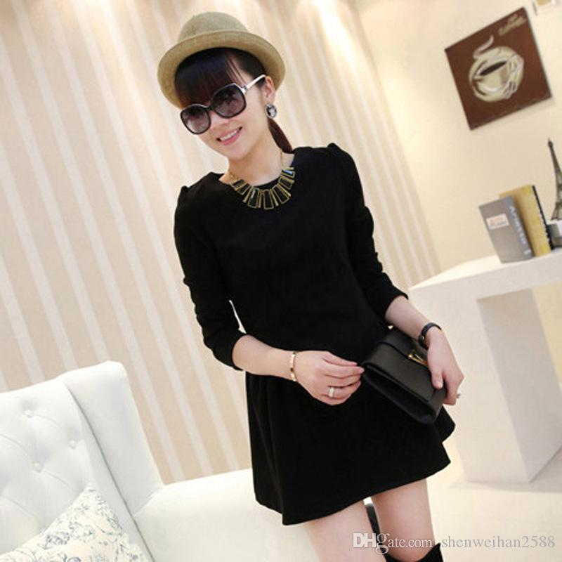 Cheap autumn and winter's Korean version of the new A word small fragrant long sleeved wool dress backing LYQ215