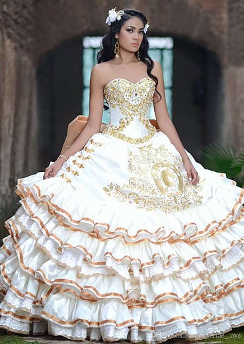 2017 New White Gold Satin Ball Gowns Embroidery Quinceanera Dresses ...