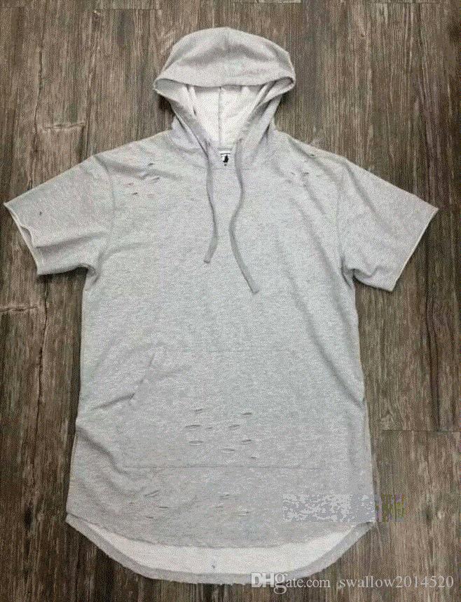 Nueva camiseta extendida hip hop Fashion Hole con capucha Streetwear Kanye West Broken Destroy manga corta Camisetas cool swag clothes