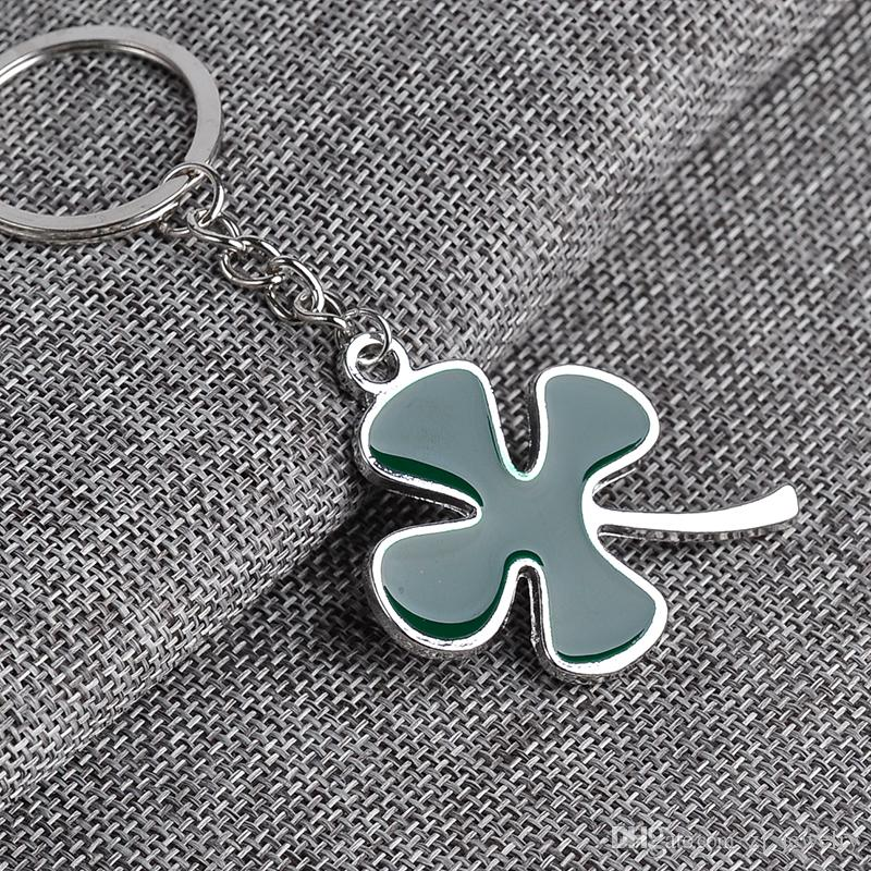 2018 wholesale Hot New lovers Lucky Clover Heart Keychain Lover Romantic Creative Fashion Jewelry Birthday Gift ZJ-0903519