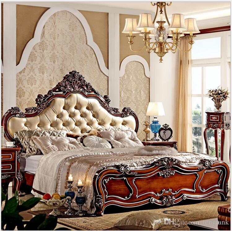 Letto moderno in legno massello europeo moderno di vendita caldo Intagliato  1,8 m letto francese mobili camera da letto 7885