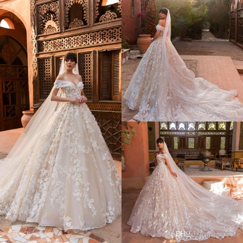 Crystal Design 2018 Lace Ball Gown Wedding Dresses Off The Shoulder ...