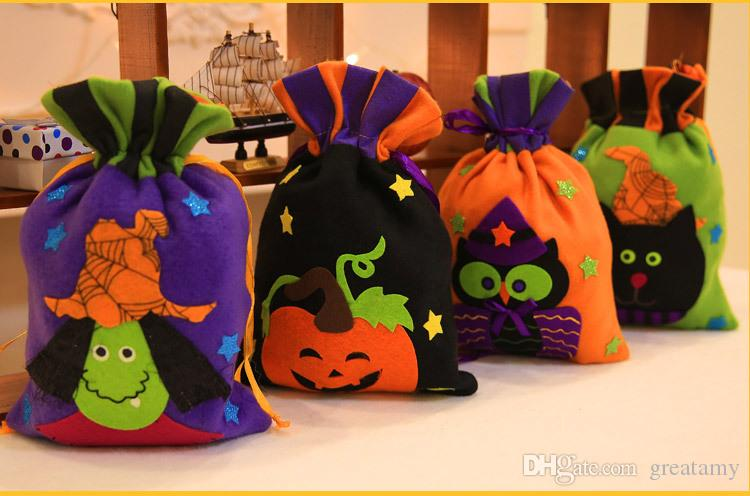 New New Halloween Colorful Sacks Bag Personalized Personalized Children Candy Gifts Bag Pumpkin Witch Cat Owl treat or trick Drawstring Bags