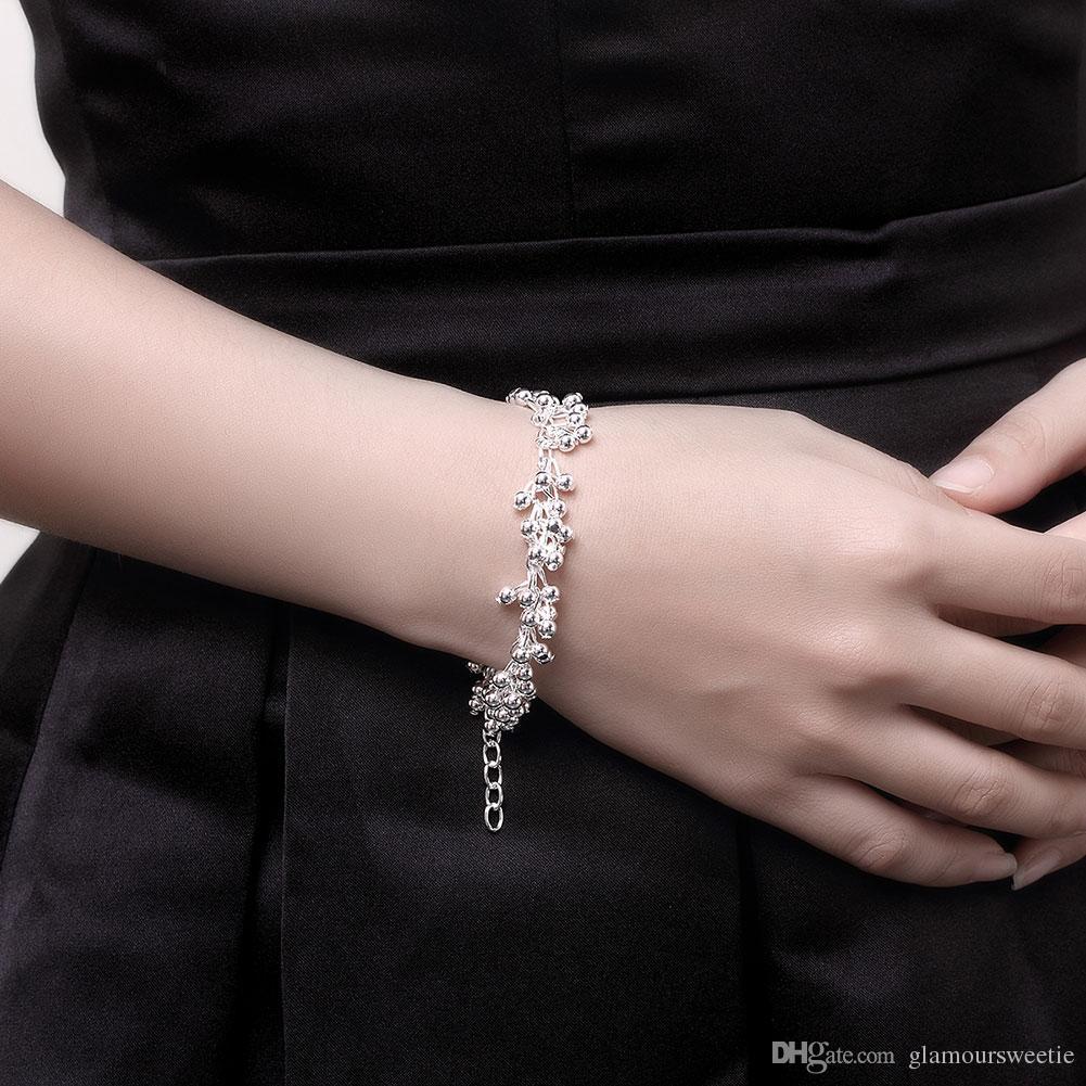 Shining Beads Silver Bracelet Simple High Quality Stylish Charm Ball
