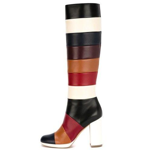 High Heel Stiefel Für Frauen 2016 Bunte Damen Party Boot Seauqre Heels Knielangen Shoes Fashion Party Evneing Schuhe Nach Maß Plus US12