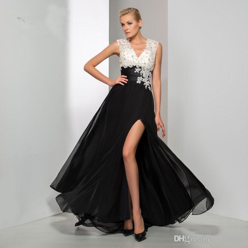 2019 femmes accrocheuses une ligne dos nu côté fente robe de soirée sexy pure col en V appliques noir et blanc formelle longue robe de bal sur mesure