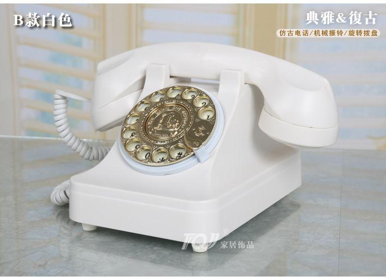Wholesale-TQJ White rotary dial/Mechanical ringtones/European antique  vintage telephones