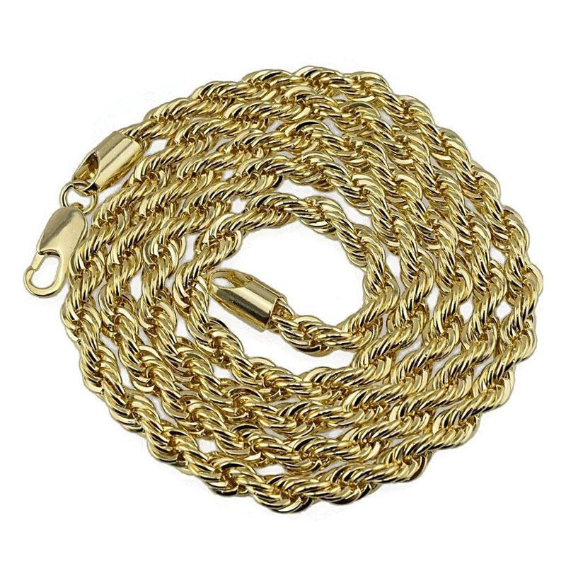 5 mm 76cm Cadena de enlace de hip hop Cadena larga collar de oro joyería plateada de oro para colgantes Fiesta de desgaste