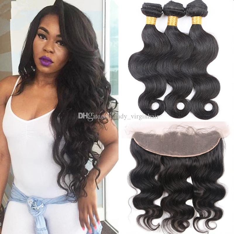 Free Middle 3 Way Part Body Wave Full Lace Frontal Closure 13X4'' With Unprocessed Virgin Brazilian Human Hair Weave Weft Bundles 4Pcs Lot