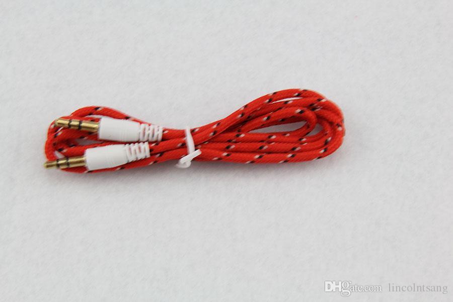 도매 / 3.5mm 스테레오 오디오 AUX 케이블 짠된 직물 와이어 보조 코드 잭 남성 남성 / M 1m 3 피트 Iphone sa에 리드