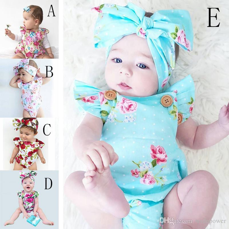 f584510e8e08 2019 Infants Baby Girl Floral Rompers Bodysuit With Headbands Ruffles  Sleeve Set Buttons 2017 Summer Ins Briefs 0 2years WD392 From Widepower