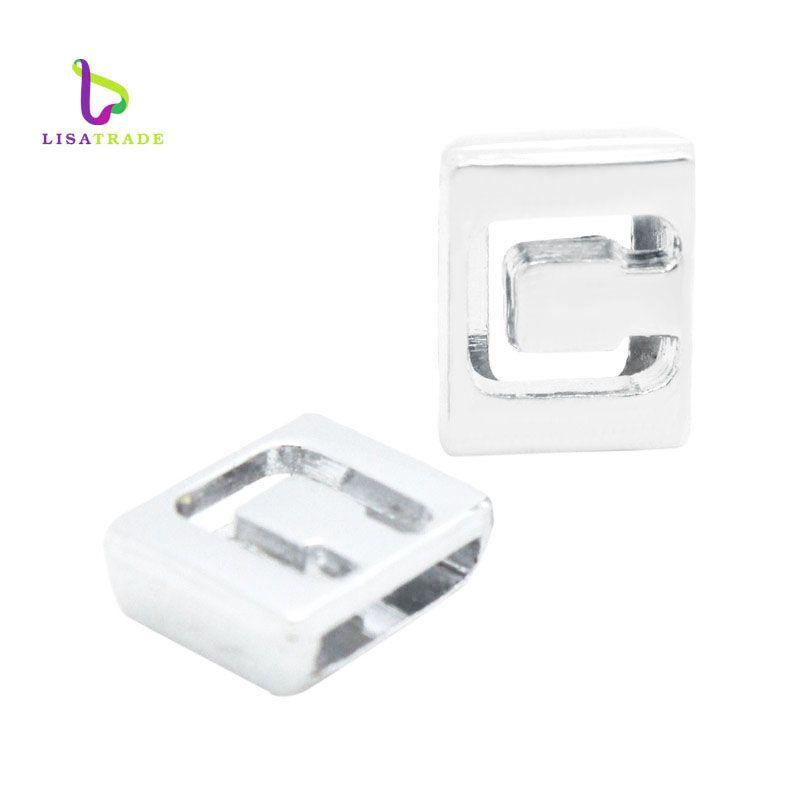 8mm Hollow Letters English Alphabet A-Z DIY Slide letter Charm fit Bracelet LSSL010*130