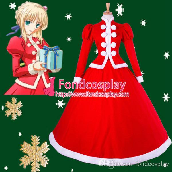 2017 Fate/Stay Night Saber Christmas Dress Cosplay Costume Tailor ...