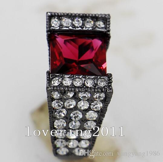 Vente en gros - Size5 / 6/7/8/9/10 Vintage amoureux bijoux en cristal 10KT Black Gold Filled femmes lady039; s de mariage bague de fiançailles pour cadeau d'amour
