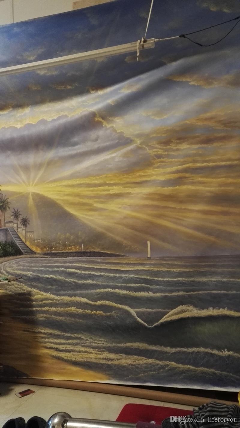 Top personalizado paisaje pintado a mano pintura al óleo hogar pintura panel lienzo pintura nueva decoración de arte de la pared regalo de envío de DHL