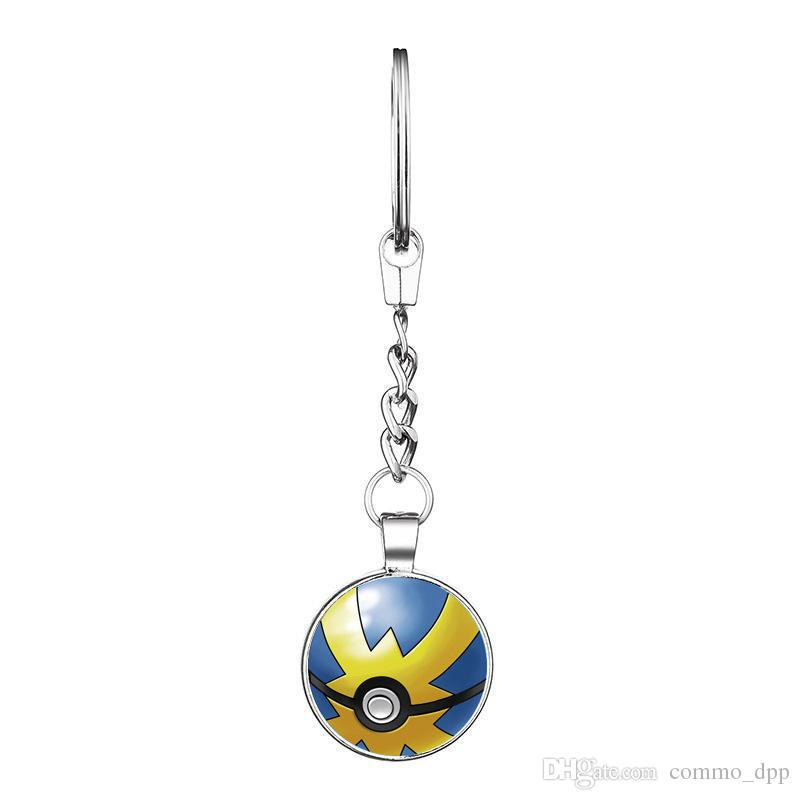 2016 New Fashion Double Sided Design Keychains Cartoon Pocket Pikachu Anime Key chain Keyring Pendant Halloween&Christmas gifts