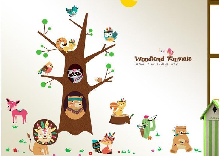 Cartoon Giraffe Monkey Trees Height Wall Sticker Baby Room Children ...
