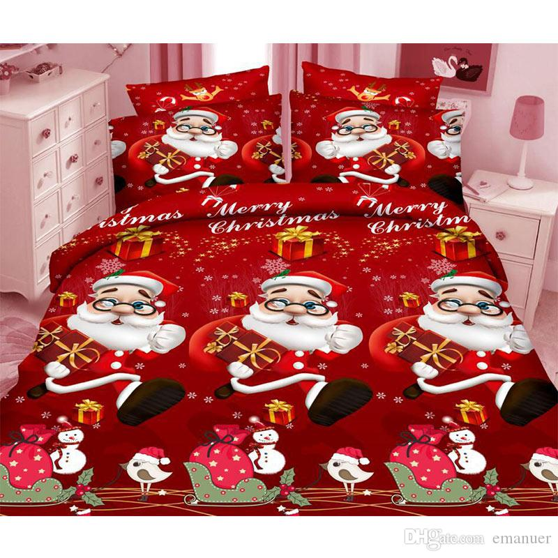 christmas cheap 3d bedding sets santa pattern design printed
