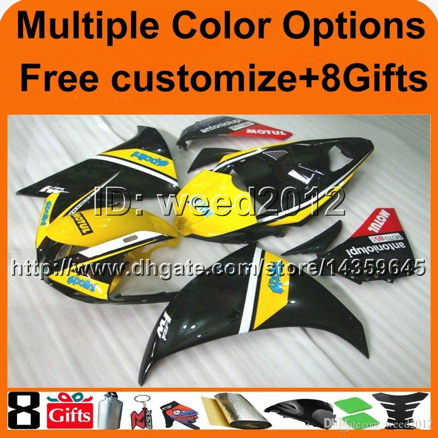23colors+8Gifts yellow BLACK panels motorcycle article for Yamaha YZF-R1 09 10 11 YZFR1 2009 2010 2011 ABS Plastic bodywork Fairings