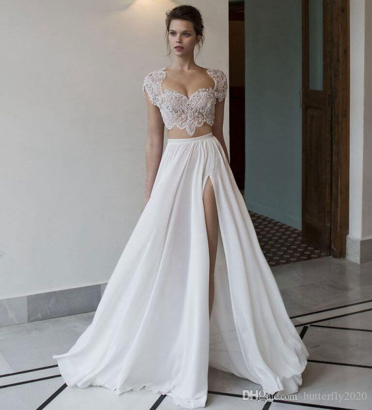 Discount Modest Two Piece Beach Wedding Dresses Cap Sleeves Beading ...