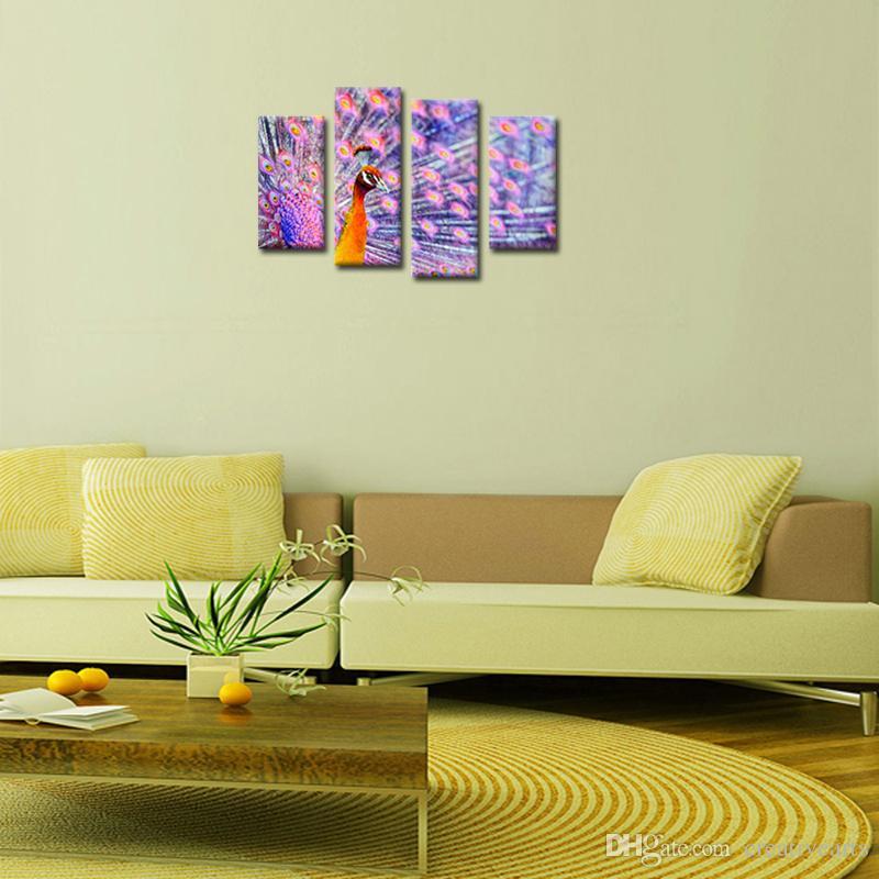 Colorido Púrpura Pavo real 4 paneles Animal Paisaje Giclee Lienzos sobre lienzo Arte de la pared Imágenes modernas Ilustraciones para la decoración del hogar sin marco