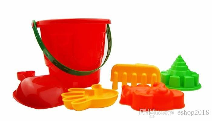 2016 Funny Gift Set of 7 Winter Summer Seaside Beach Toy Child Spade Rake Bucket Kit Sand Snow Building Molds for kids
