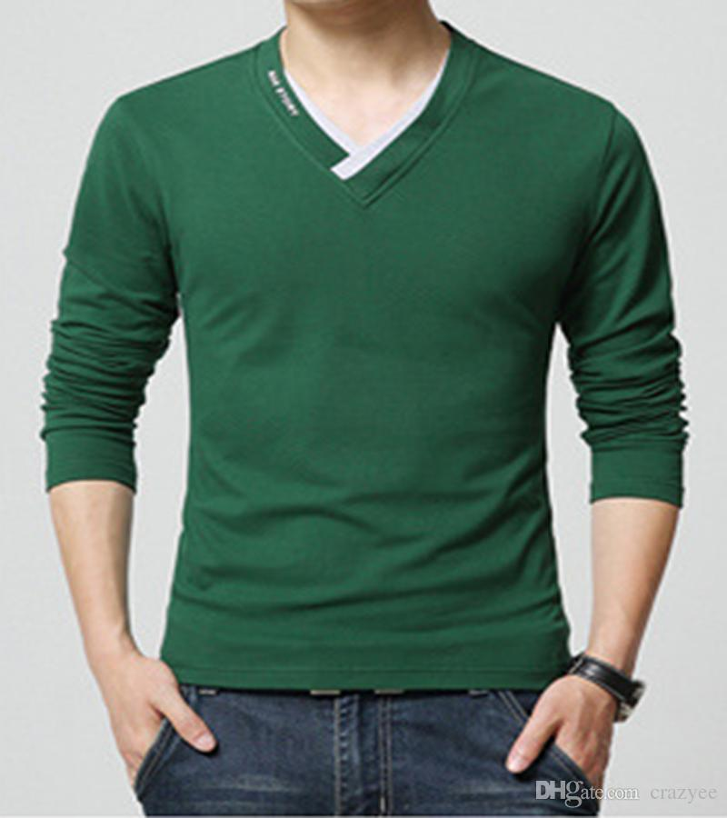 Plus Size Fashion Tshirt Solid V Neck Good Quality Casual Men T Shirt Full Sleeves Cotton Fall Wear Novelty Shirts With Awesome Cheap