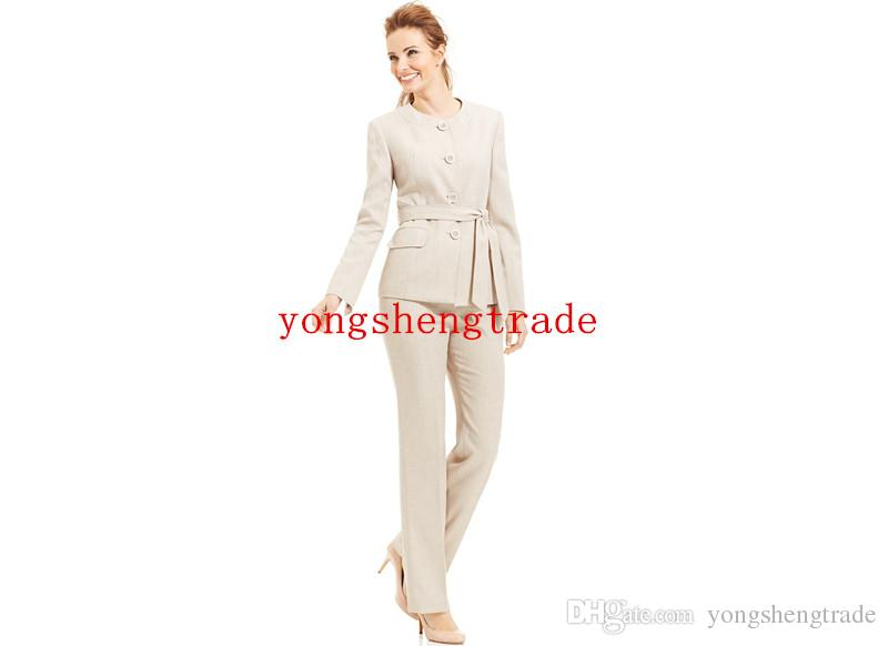 Collarless Belted Pant Suit Custom Made Beige Women Suit HS7982