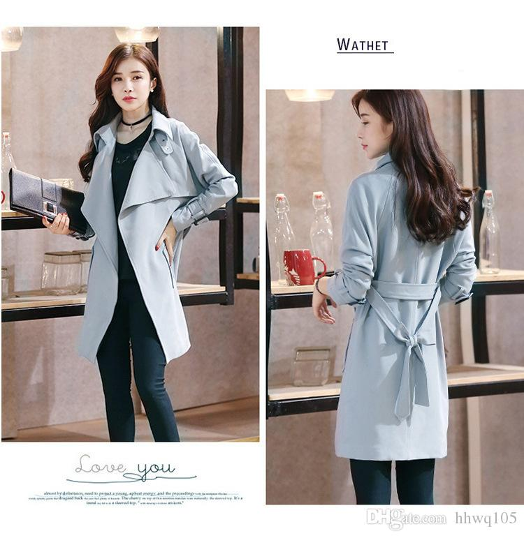 2018 Fashion Spring Navy Gray Long Trench Coat Slim-Fit Ladies Long Casual Jacket With Belt Female Casaco Overcoat MGG1107