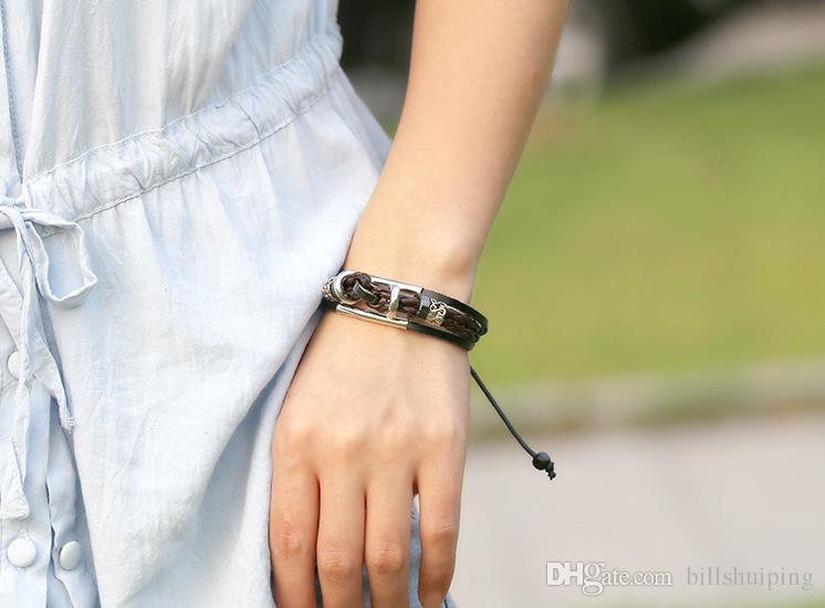 Frete grátis nova moda artesanal atacado pulseiras punk, étnico tribal gótico envoltório pulseira de couro para homens