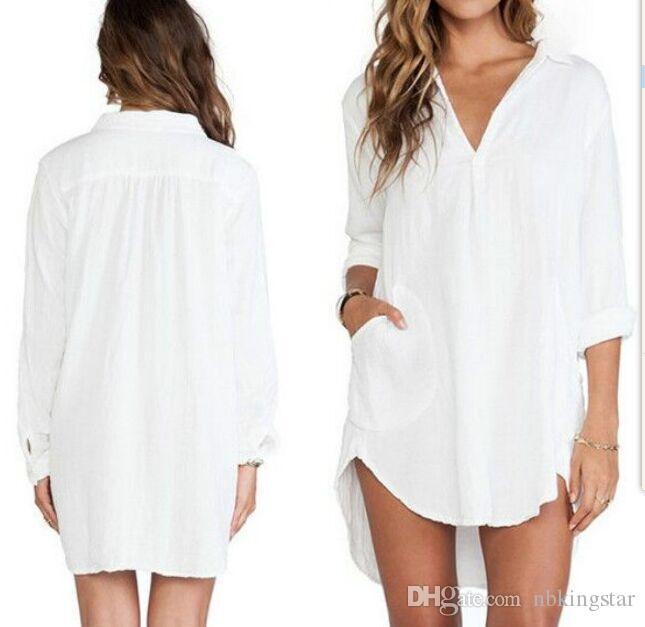2016 Yeni Seksi Kadınlar Sheer Beyaz Gömlek Elbise Uzun Kollu Cep Casual Bluz Tops Artı Boyutu