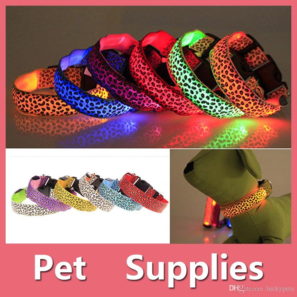 Leopard Pet Collar Colorful Led Pet Dog Puppy Cat Kitten Soft Glossy Reflective Collar Safety Buckle 2016090802