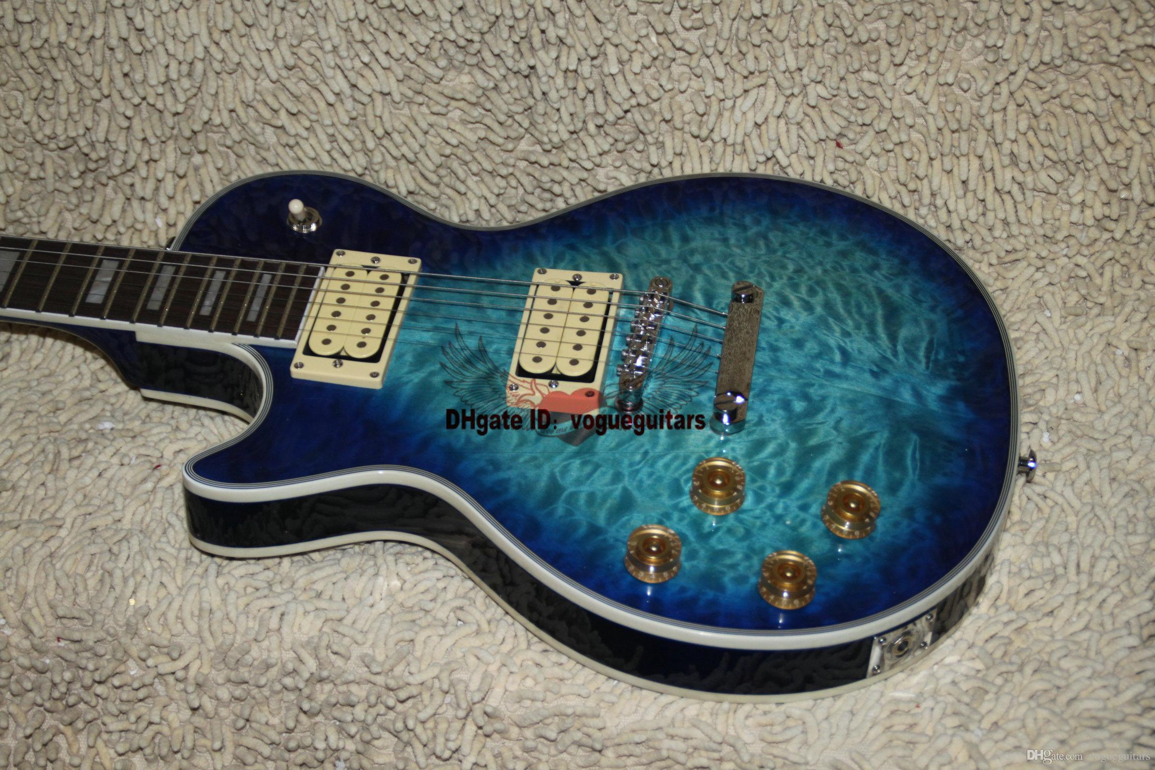 Nueva llegada zurdos Guitarra Blue Burst Guitarra eléctrica custom shop guitarra OEM Disponible