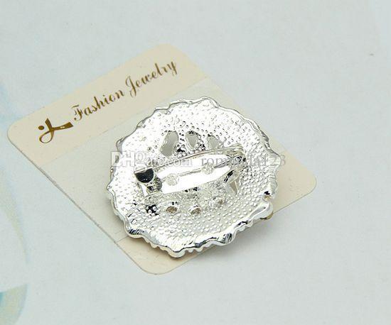 Silver Color Clear Rhinestone Crystal Diamante Small Flower Collar Brooch Wedding Dress Pin Brooch DHL