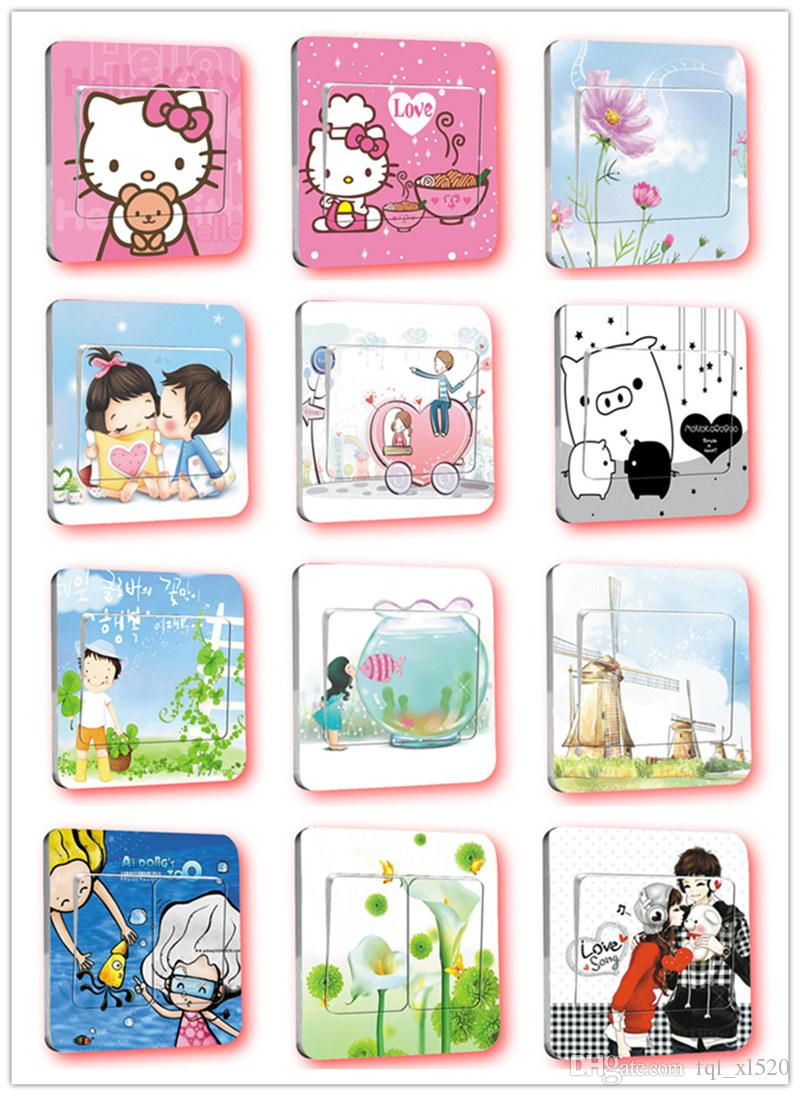 Cartoon Switch Stickers for Home Decoration Bedroom Parlor Decorative Wall Sticker Many Style Flowers Stickers 86x86cm