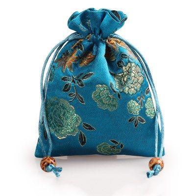 Pfingstrose Blume Dick Kleine Stoffbeutel Kordelzug Seide Brokat Geschenk Verpackung Beutel Schmuck Make-up Parfüm Münze Schmuckstück Aufbewahrungstasche 50 teile / los