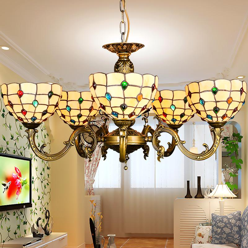 tiffany chandelier stained glass pendant lamps art dining room lights hand made chain chandelier. Black Bedroom Furniture Sets. Home Design Ideas
