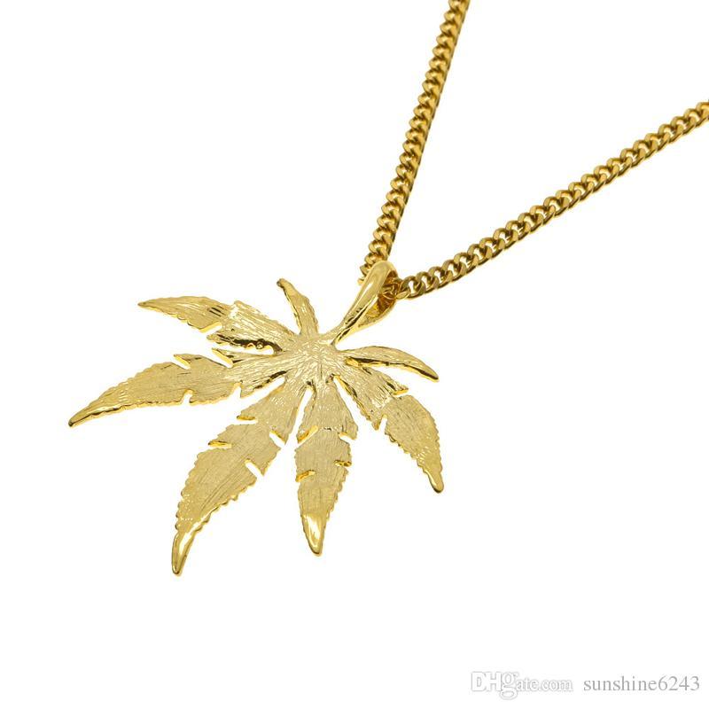 Altın Kaplama Maple l Yaprak Kolye Kolye Erkekler Kadınlar Hip Hop Charm Herb 60 cm Küba Zincirleri Kolye Mens Moda Hiphop Takı Doğum Günü Hediye