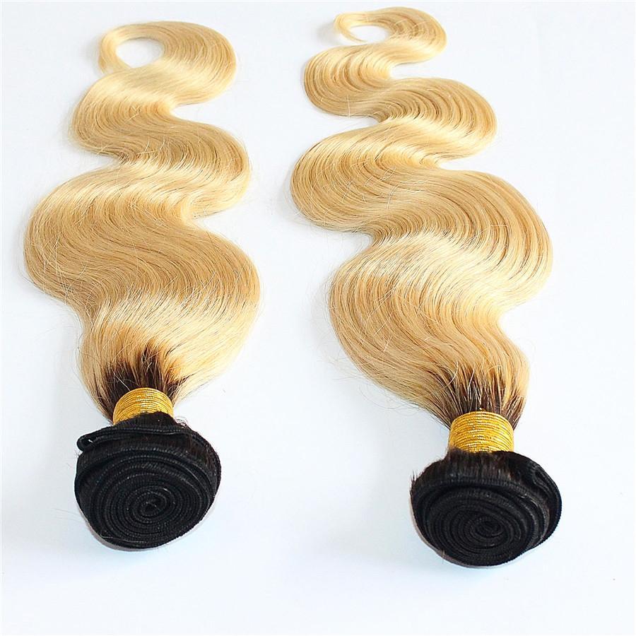 금발 브라질 Ombre 금발 머리 1B / 613 브라질 바디 웨이브 버진 머리카락 200g / pcs / 엉킴 무료 옴브 헤어 확장