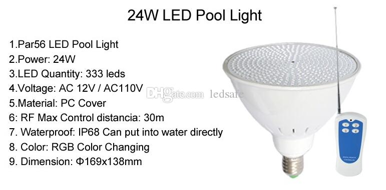 RGB Pool Light LED AC 12V E27 Underwater Light Bulb 18W 24W 35W Par56 Lampada for Outside Wateproor IP68 Pond Lamp with Remote Controller