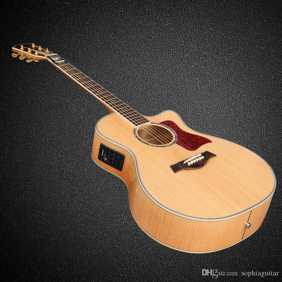 Custom Oem Guitar Wood Color Cut Away Acoustic Electric Guitar Flame