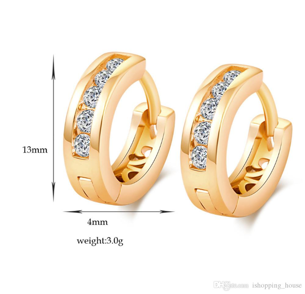 Simple design Crystal Fashion Charm Ear ClipS Korean Version 18k Real Yellow Gold Plated CZ Earrings for Women