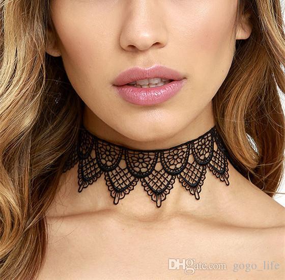 2016 nuevo negro ahueca hacia fuera el cordón de la flor del ganchillo collar gótico punk mujeres elegante cadena de la cuerda foral collares joyería