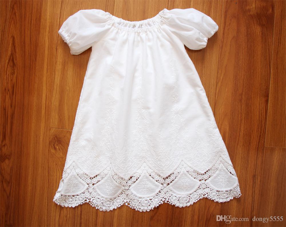 White Short Sleeve Baby Girl Baptism Dress Lace Embroidery Newborn ...
