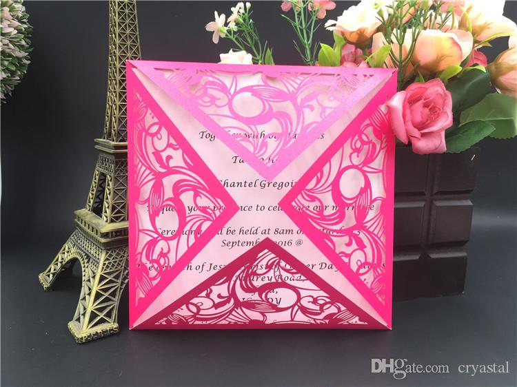 2018 new laser cut pink wedding invitations free printing elegant