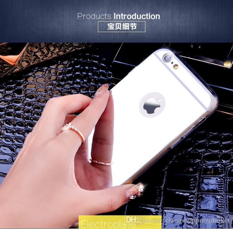 Soft TPU Mirror Case Electroplating Chrome Ultrathin Cover For iPhone X Xr Xs Max 8 7 6S Plus Samsung S8 S9 Plus Note 8 9 S7 edge