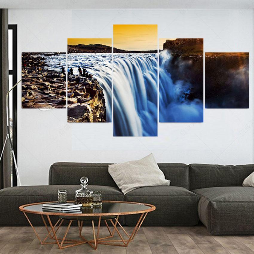 5 Piece Modern Waterfall Cuadros Decoracion Pintura Canvas Oil Painting Art Wall Pictures For Living Room Picture No Frame