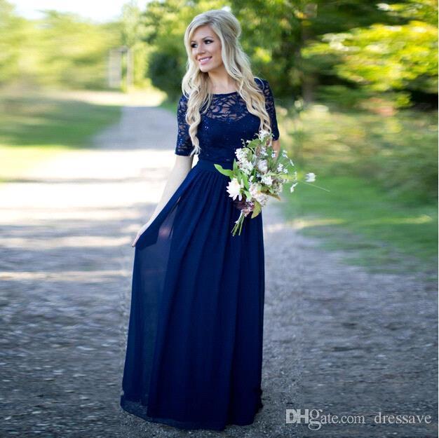 2020Country Bridesmaid Dresses Barato Longo Azul Marinho Chiffon Mangas Compridas Illusion Lace Lantejoulas Até O Chão Vestidos de Empregada de Honra